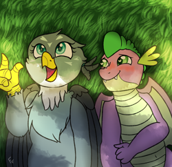 Size: 2000x1932 | Tagged: safe, artist:ponykittenboi, gabby, spike, dragon, griffon, cloud watching, cute, female, future spike, grass, heart eyes, in love, infatuated, lovesick, lying down, male, older, older spike, shipping, spabby, straight, wingding eyes