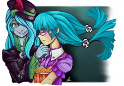 Size: 1280x895 | Tagged: safe, artist:jennobasilicum, juniper montage, queen chrysalis, equestria girls, alternate hairstyle, clothes, duo, equestria girls-ified, eyeshadow, feather, fedora, female, flower, food, glasses, grin, hair over one eye, hat, jacket, leather jacket, makeup, popcorn, rose, shirt, smiling