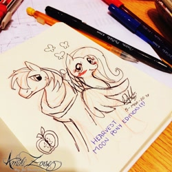 Size: 2048x2048 | Tagged: safe, artist:amikizorsez, big macintosh, fluttershy, earth pony, pegasus, pony, blushing, female, fluttermac, looking at each other, male, mechanical pencil, partial color, pen, pencil, photo, shipping, signature, straight, traditional art