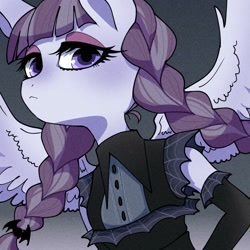 Size: 1500x1500 | Tagged: safe, artist:bbtasu, inky rose, pegasus, anthro, braid, braided pigtails, bust, clothes, female, gloves, goth, long gloves, looking at you, solo, spread wings, thick eyelashes, wings