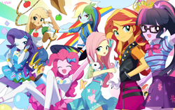 Size: 3000x1886 | Tagged: safe, artist:ryuu, angel bunny, applejack, fluttershy, pinkie pie, rainbow dash, rarity, sci-twi, sunset shimmer, twilight sparkle, bird, butterfly, rabbit, equestria girls, equestria girls series, angelbetes, animal, apple, applejack's hat, balloon, big crown thingy, bowtie, clothes, confetti, cowboy hat, cute, cutie mark, cutie mark on clothes, dashabetes, denim skirt, diapinkes, element of magic, eyes closed, female, food, geode of empathy, geode of fauna, geode of shielding, geode of sugar bombs, geode of super speed, geode of super strength, geode of telekinesis, glasses, hairpin, happy, hat, high heels, hoodie, humane five, humane seven, humane six, jackabetes, jacket, jewelry, lasso, leather, leather jacket, magical geodes, one eye closed, open mouth, party cannon, pixiv, ponytail, raribetes, regalia, rope, shimmerbetes, shoes, shyabetes, skirt, smiling, tanktop, twiabetes, wall of tags, wink, winking at you