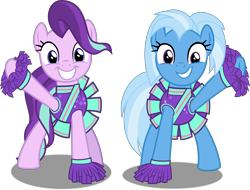 Size: 12076x9193 | Tagged: safe, alternate version, artist:thatusualguy06, derpibooru exclusive, starlight glimmer, trixie, earth pony, pony, 2 4 6 greaaat, .svg available, absurd resolution, cheerleader, cheerleader outfit, clothes, cute, diatrixes, female, glimmerbetes, looking at you, mare, missing horn, recolor, request, simple background, transparent background, vector