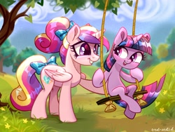 Size: 4000x3000 | Tagged: safe, artist:rrd-artist, princess cadance, twilight sparkle, alicorn, pony, unicorn, babysitting, commission, cute, cutedance, duo, female, filly, filly twilight sparkle, open mouth, swing, teen princess cadance, tree, twiabetes, unicorn twilight, young twilight, younger
