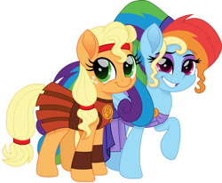 Size: 1280x1053   Tagged: safe, artist:cloudyglow, applejack, rainbow dash, earth pony, pegasus, pony, alternate hairstyle, appledash, armor, armor skirt, clothes, cloudyglow is trying to murder us, costume, disney, dress, eyeshadow, female, freckles, grin, halloween, halloween costume, headband, hercules, lesbian, makeup, megaradash, movie accurate, nightmare night, rainbow dash always dresses in style, raised hoof, shipping, simple background, skirt, smiling, transparent background