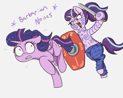 Size: 2500x2000 | Tagged: safe, artist:t72b, starlight glimmer, twilight sparkle, alicorn, pony, unicorn, alternate hairstyle, barbarian, bipedal, celtic, chase, clothes, descriptive noise, fear, female, high res, highlander, historical roleplay starlight, hoof hold, hooves, mare, pants, plaid, running, shield, sword, twilight sparkle (alicorn), weapon, windswept mane, woad