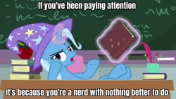 Size: 1920x1080 | Tagged: safe, edit, edited screencap, screencap, trixie, pony, unicorn, a horse shoe-in, apple, board, book, caption, classroom, female, food, hooves on the table, image macro, magic, magic aura, mare, school, sir raven, solo, table, telekinesis, text, the grim adventures of billy and mandy