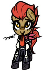 Size: 777x1189 | Tagged: safe, artist:jetwave, skellinore, oc, oc only, oc:dala vault, earth pony, pony, bandana, boots, candy, clothes, cosplay, costume, dialogue, earth pony oc, female, food, halloween, halloween costume, holiday, makeup, mare, nightmare night, shoes, simple background, skeleton costume, solo, standing, trick or treat, white background