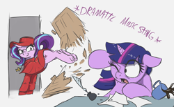Size: 2055x1270 | Tagged: safe, artist:t72b, starlight glimmer, twilight sparkle, alicorn, pony, unicorn, breaking and entering, bucking, coffee, coffee mug, cross, cross necklace, descriptive noise, destruction, hat, historical roleplay starlight, inkwell, jewelry, kicking, monty python, monty python's flying circus, mug, necklace, one eye closed, paper, quill, scared, sitting, spanish inquisition, spilled drink, twilight sparkle (alicorn), underhoof, unexpected