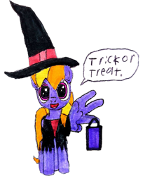 Size: 2480x3034   Tagged: safe, alternate version, artist:topsangtheman, cloud kicker, pegasus, pony, clothes, costume, dialogue, halloween, holiday, looking at you, simple background, solo, staring into your soul, traditional art, transparent background, trick or treat, witch