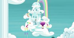 Size: 1920x988 | Tagged: safe, screencap, building, cloud, hot air balloon, no pony, rainbow, rainbow dash's house, rainbow waterfall, scenery, twinkling balloon