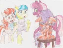 Size: 1117x850 | Tagged: safe, artist:semijuggalo, aunt holiday, auntie lofty, cheerilee, scootaloo, earth pony, pegasus, pony, angry, bandaid, black eye, blood, bruised, concerned, implied fight, nosebleed, stool, time out, traditional art