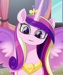 Size: 1272x1500 | Tagged: safe, artist:pyropk, princess cadance, alicorn, pony, crown, cute, cutedance, female, jewelry, looking at you, mare, open mouth, regalia, smiling, smiling at you, solo, spread wings, wings