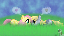 Size: 1920x1080 | Tagged: safe, artist:intelmax89, derpy hooves, fluttershy, pegasus, pony, boop, cute, derpabetes, derpyshy, female, food, grass, heart, lesbian, lying down, mare, muffin, nose to nose, noseboop, pictogram, prone, shipping, shyabetes, that pony sure does love muffins, thought bubble