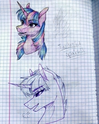 Size: 1080x1350 | Tagged: safe, artist:moona_lou, twilight sparkle, pony, unicorn, bust, duo, female, graph paper, lineart, mare, partial color, traditional art, unicorn twilight