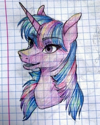 Size: 1080x1351 | Tagged: safe, artist:moona_lou, twilight sparkle, pony, unicorn, bust, female, graph paper, mare, solo, traditional art, unicorn twilight