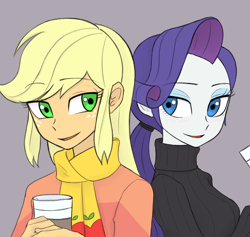 Size: 1620x1533 | Tagged: safe, artist:haibaratomoe, applejack, rarity, equestria girls, clothes, coffee, cup, digital art, female, freckles, lesbian, looking at each other, open mouth, rarijack, scarf, shipping, simple background, smiling, sweater