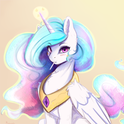 Size: 4000x4000 | Tagged: safe, artist:miokomata, princess celestia, alicorn, pony, :i, absurd resolution, blushing, candy, chest fluff, cute, cutelestia, ear fluff, eating, ethereal mane, eyebrows visible through hair, eyelashes, female, food, glowing horn, gradient background, horn, jewelry, lollipop, looking at you, magic, mare, meta, mouth hold, peytral, pink eyes, pocky, puffy cheeks, regalia, signature, sillestia, silly, simple background, sitting, solo, wing fluff, yellow background