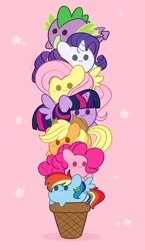 Size: 2373x4096   Tagged: safe, artist:kittyrosie, applejack, fluttershy, pinkie pie, rainbow dash, rarity, spike, twilight sparkle, alicorn, pony, :3, blushing, chibi, cute, dashabetes, diapinkes, digital art, female, food, ice cream, ice cream cone, jackabetes, mane seven, mane six, pink background, pony pile, raribetes, shyabetes, simple background, spikabetes, stars, tower of pony, twiabetes, twilight sparkle (alicorn)