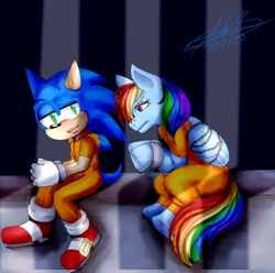Size: 1024x1016   Tagged: safe, artist:vegetitakawaii, rainbow dash, pegasus, pony, bound wings, chained, clothes, cuffs, duo, jail, prison, prison outfit, prisoner, prisoner rd, shackles, sonic the hedgehog, sonic the hedgehog (series), wings
