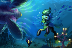 Size: 3000x2000 | Tagged: safe, artist:jedayskayvoker, oc, oc only, oc:sea glow, fish, peeper (subnautica), pegasus, pony, blue background, crossover, diving, flippers, hypnosis, mesmer (subnautica), pegasus oc, scuba, scuba gear, simple background, subnautica, this will end in pain, underwater, wetsuit, wings