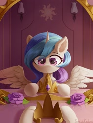 Size: 1900x2500 | Tagged: safe, artist:emeraldgalaxy, princess celestia, alicorn, pony, chest fluff, chibi, crown, cute, cutelestia, ear fluff, eye clipping through hair, eyebrows visible through hair, female, flower, jewelry, mare, mirror, pov, reflection, regalia, solo, spread wings, wings, younger