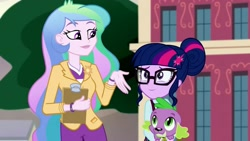 Size: 1280x720   Tagged: safe, princess celestia, principal celestia, sci-twi, spike, spike the regular dog, twilight sparkle, dog, equestria girls, friendship games, blazer, bracelet, brooch, canterlot high, clipboard, clothes, crystal prep academy uniform, cute, cutelestia, cutie mark accessory, cutie mark brooch, cutie mark hair accessory, eye contact, gesture, glasses, hair accessory, hair bun, holding a dog, jewelry, lipstick, looking at each other, momlestia fuel, principal and student, school uniform, smiling, twiabetes, watch, when she smiles, wristwatch