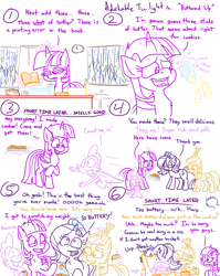 Size: 4779x6013 | Tagged: safe, artist:adorkabletwilightandfriends, moondancer, spike, starlight glimmer, twilight sparkle, oc, oc:pinenut, alicorn, cat, dragon, pony, unicorn, comic:adorkable twilight and friends, adorkable, adorkable twilight, baking, barf, bent over, book, bowl, bucket, butt, butter, chocolate chip cookies, comic, cook book, cookie, cooking, couch, cute, dork, eating, egg, egg carton, excited, family, flavor, flour, food, friendship, glimmerbetes, glowing horn, happy, horn, humor, kitchen, magic, plot, rain, recipe, sick, sitting, slice of life, spikabetes, spoon, stomach ache, sugar (food), telekinesis, twilight sparkle (alicorn), vomit