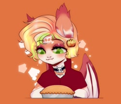 Size: 1446x1242 | Tagged: safe, artist:azaani, pumpkin cake, oc, oc only, bat pony, pony, bat pony oc, bat wings, chibi, clothes, costume, female, halloween, halloween costume, holiday, mare, pumpkin, simple background, wings