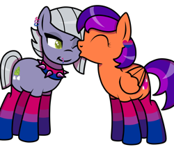Size: 652x553 | Tagged: safe, artist:kb-gamerartist, limestone pie, oc, oc:jade the pegasus, earth pony, pegasus, pony, bisexual pride flag, canon x oc, choker, clothes, ear piercing, earring, eyes closed, female, heart, jewelry, kissing, lesbian, lip piercing, mare, one eye closed, piercing, pride, pride flag, shipping, simple background, socks, spiked choker, striped socks, transparent background, wink