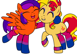 Size: 1024x735 | Tagged: safe, artist:ichiban-iceychan1517, artist:kb-gamerartist, color edit, edit, sunset shimmer, oc, oc:jade the pegasus, pegasus, pony, unicorn, bisexual pride flag, canon x oc, clothes, collaboration, colored, ear piercing, earring, eyeshadow, female, grin, heart, hug, jewelry, lesbian, lip piercing, makeup, mare, needs more saturation, open mouth, piercing, pride, pride flag, raised hoof, raised leg, shipping, simple background, smiling, socks, striped socks, transparent background, wristband