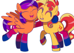 Size: 1024x735 | Tagged: safe, artist:kb-gamerartist, sunset shimmer, oc, oc:jade the pegasus, pegasus, pony, unicorn, bisexual pride flag, canon x oc, clothes, ear piercing, earring, eyeshadow, female, grin, heart, hug, jewelry, lesbian, lip piercing, makeup, mare, open mouth, piercing, pride, pride flag, raised hoof, raised leg, shipping, simple background, smiling, socks, striped socks, transparent background, wristband