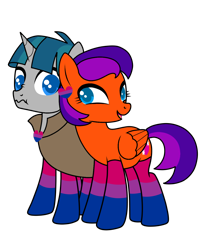 Size: 1200x1417 | Tagged: safe, artist:ichiban-iceychan1517, artist:kb-gamerartist, color edit, edit, stygian, oc, oc:jade the pegasus, pegasus, pony, unicorn, bisexual pride flag, canon x oc, cloak, clothes, collaboration, colored, ear piercing, earring, female, heart, jewelry, male, mare, open mouth, piercing, pride, pride flag, shipping, simple background, socks, stallion, straight, striped socks, transparent background