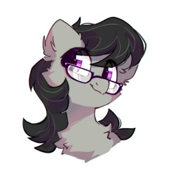 Size: 1105x1109   Tagged: safe, artist:mirtash, octavia melody, earth pony, pony, bust, cheek fluff, chest fluff, cute, ear fluff, female, fluffy, glasses, mare, simple background, solo, tavibetes, white background