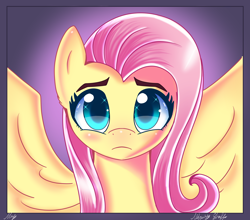 Size: 2500x2200 | Tagged: safe, artist:opal_radiance, fluttershy, pegasus, pony, beautiful, bust, cute, high res, looking at you, portrait, sad, sadorable, shyabetes, solo, spread wings, wings
