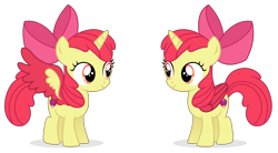 Size: 10610x5859 | Tagged: safe, artist:cirillaq, apple bloom, alicorn, pony, absurd resolution, alicornified, bloomicorn, colored wings, race swap, simple background, solo, transparent background, vector, wings
