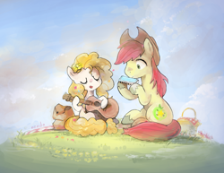 Size: 1530x1180 | Tagged: safe, artist:nendo, bright mac, pear butter, earth pony, pony, the perfect pear, acoustic guitar, basket, blanket, brightabetes, brightbutter, cloud, cowboy hat, cute, daaaaaaaaaaaw, eyes closed, female, flower, flower in hair, grass, guitar, harmonica, hat, male, mare, musical instrument, open mouth, pearabetes, picnic, picnic basket, picnic blanket, shipping, singing, sitting, stallion, straight, sweet dreams fuel