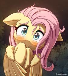 Size: 1800x2000 | Tagged: safe, artist:symbianl, fluttershy, pegasus, pony, :c, blushing, bust, cheek fluff, crying, cute, ear fluff, female, floppy ears, fluffy, frown, full face view, hoof fluff, hooves to the chest, leg fluff, looking at you, mare, sad, sadorable, scared, shyabetes, solo, stray strand, teary eyes, wavy mouth, wing fluff, wings