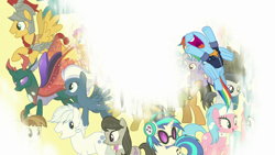Size: 1920x1080   Tagged: safe, screencap, aloe, daring do, dj pon-3, double diamond, featherweight, flash magnus, lotus blossom, night glider, octavia melody, pharynx, quibble pants, rainbow dash, rumble, sky stinger, smolder, thunderlane, vinyl scratch, wind sprint, changedling, changeling, earth pony, pegasus, pony, the last problem, male, nose in the air, older, older rainbow dash, open mouth, prince pharynx, the magic of friendship grows, uvula, volumetric mouth
