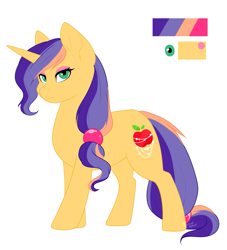 Size: 1077x1188 | Tagged: safe, artist:silentwolf-oficial, oc, oc only, pony, unicorn, female, horn, magical lesbian spawn, mare, offspring, parent:applejack, parent:rarity, parents:rarijack, reference sheet, solo, story included, unicorn oc