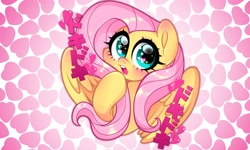 Size: 3000x1800 | Tagged: safe, artist:techycutie, fluttershy, pegasus, pony, anime, blushing, bust, cute, doki doki, female, heart, heart eyes, japanese, mare, onomatopoeia, open mouth, shyabetes, solo, sparkly eyes, weapons-grade cute, wingding eyes