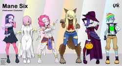 Size: 4168x2272 | Tagged: safe, artist:oldskullkid, part of a set, applejack, fluttershy, pinkie pie, rainbow dash, rarity, twilight sparkle, ghost, undead, vampire, werewolf, equestria girls, alternate hairstyle, belly button, boots, breasts, candy, choker, cleavage, clothes, corset, costume, dress, egyptian, female, food, frankenstein's monster, hair over one eye, halloween, halloween costume, hand on hip, hat, holiday, legs, lollipop, midriff, mouth hold, mummy, open mouth, pumpkin, sadako, samara morgan, shoes, short hair, the ring, witch, witch hat