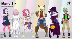 Size: 4168x2272 | Tagged: safe, alternate version, artist:oldskullkid, part of a set, applejack, fluttershy, pinkie pie, rainbow dash, rarity, twilight sparkle, ghost, human, undead, vampire, werewolf, alternate hairstyle, belly button, boots, breasts, candy, choker, cleavage, clothes, corset, costume, dress, egyptian, female, food, frankenstein's monster, hair over one eye, halloween, halloween costume, hand on hip, hat, holiday, humanized, legs, lollipop, midriff, mouth hold, mummy, open mouth, pumpkin, sadako, samara morgan, shoes, short hair, the ring, witch, witch hat