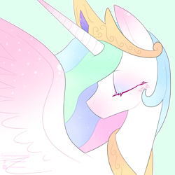 Size: 3000x3000 | Tagged: safe, artist:squishysquidysquid, princess celestia, alicorn, pony, blue background, bust, eyes closed, female, high res, majestic, mare, portrait, profile, simple background, solo, spread wings, wings