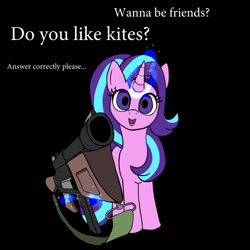Size: 800x800 | Tagged: safe, artist:slamjam, starlight glimmer, pony, unicorn, black background, dialogue, gun, levitation, looking at you, magic, open mouth, pointing gun, simple background, solo, telekinesis, text, that pony sure does love kites, tommy gun, weapon