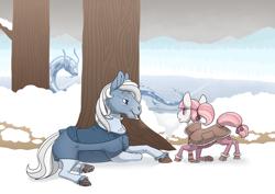Size: 3508x2480 | Tagged: safe, artist:jackiebloom, princess celestia, oc, oc:swiftword, earth pony, pony, cewestia, clothes, female, filly, male, snow, stallion, tree, younger