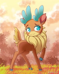 Size: 1600x2000 | Tagged: safe, artist:symbianl, velvet reindeer, deer, reindeer, them's fightin' herds, :3, antlers, chest fluff, cloven hooves, colored pupils, community related, cute, female, fluffy, grass, raised hoof, smiling, solo