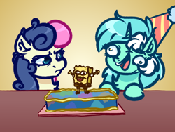 Size: 4000x3000 | Tagged: safe, artist:witchtaunter, bon bon, lyra heartstrings, sweetie drops, earth pony, pony, unicorn, birthday, birthday cake, bon bon is not amused, cake, faic, food, funny face, gradient background, hat, l.u.l.s., party hat, smiling, spongebob squarepants, spongebob squarepants (character), unamused, wat
