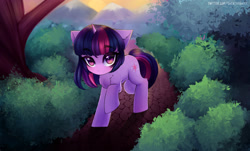 Size: 3000x1808 | Tagged: safe, artist:tatar.sauce, twilight sparkle, pony, unicorn, bush, cute, eyebrows visible through hair, female, looking at you, mare, raised hoof, raised leg, scenery, solo, tree, twiabetes, unicorn twilight, walking