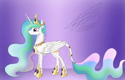 Size: 1400x900 | Tagged: safe, artist:crystalcontemplator, princess celestia, alicorn, pony, abstract background, female, hoof shoes, horn, horn jewelry, horn ring, jewelry, leonine tail, mare, peytral, ring, signature, solo, tail, tail ring, tiara