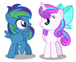 Size: 1280x1040   Tagged: safe, artist:aleximusprime, princess flurry heart, oc, oc:storm streak, flurry heart's story, bow, children, colt, filly, filly flurry heart, kids, looking at each other, male, male and female, offspring, older, older flurry heart, parent:oc:thunderhead, parent:rainbow dash, parents:canon x oc, simple background, transparent background